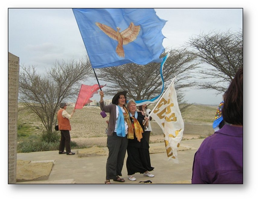 Lorraine leading the Ezekiel 37 Restoration prophetric assignment, waving banners she designed